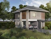 3d che rende la bella casa del gemello di esterno royalty illustrazione gratis
