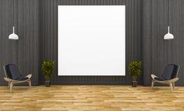 3d che rende la cornice enorme nella stanza di legno scura con stile minimo royalty illustrazione gratis