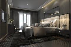 3d che rende la serie di camera da letto moderna di lusso nera in hotel e nella località di soggiorno Immagine Stock Libera da Diritti