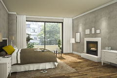 3d che rende la stanza piacevole luminosa del letto con luce calda illustrazione vettoriale