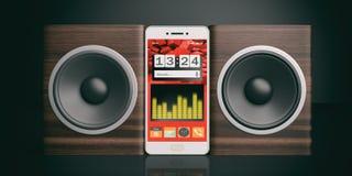 3d che rende le audio scatole e smartphone dell'altoparlante su fondo nero Fotografia Stock