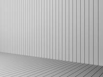 3D che rende le stecche bianche moderne parete e pavimento, illustr interno Immagine Stock Libera da Diritti