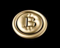 3D che rende moneta dorata con il segno del bitcoin Immagini Stock Libere da Diritti