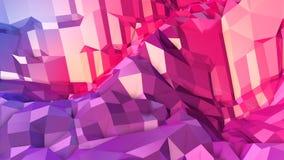 3d che rende poli fondo geometrico astratto basso con i colori moderni di pendenza superficie 3d come terreno del fumetto con il  Immagine Stock