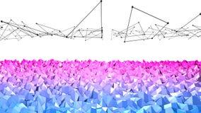 3d che rende poli fondo geometrico astratto basso con i colori moderni di pendenza superficie 3d come terreno con rosso blu Immagini Stock Libere da Diritti