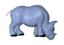 3D che rende rinoceronte blu su bianco Immagini Stock Libere da Diritti