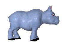 3D che rende rinoceronte blu su bianco Fotografie Stock