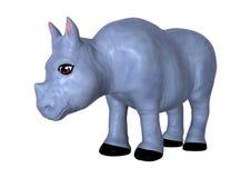 3D che rende rinoceronte blu su bianco Fotografia Stock Libera da Diritti