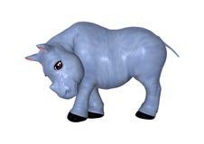 3D che rende rinoceronte blu su bianco Immagini Stock