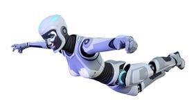 3D che rende robot femminile su bianco Immagine Stock Libera da Diritti