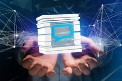 3D che rende simbolo blu del email visualizzato in un cubo affettato Immagini Stock Libere da Diritti