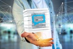 3D che rende simbolo blu del email visualizzato in un cubo affettato Fotografie Stock Libere da Diritti