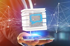 3D che rende simbolo blu del email visualizzato in un cubo affettato Immagine Stock Libera da Diritti