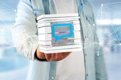 3D che rende simbolo blu del email visualizzato in un cubo affettato Fotografia Stock Libera da Diritti