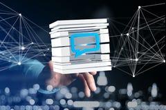3D che rende simbolo blu del email visualizzato in un cubo affettato Immagini Stock