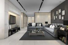 3d che rende sofà blu in salone grigio moderno con la TV Fotografia Stock Libera da Diritti