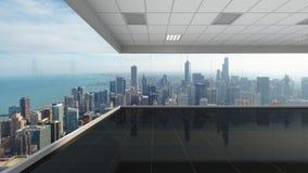 3d che rende ufficio vuoto con il fondo della città di Chicago, interno Fotografia Stock