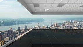 3d che rende ufficio vuoto con il fondo di New York City Fotografia Stock Libera da Diritti