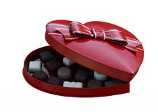 3D che rende Valentine Chocolate Box su bianco Fotografie Stock Libere da Diritti