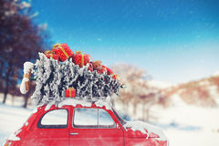 3D che rende viaggio di automobile di natale Immagine Stock Libera da Diritti