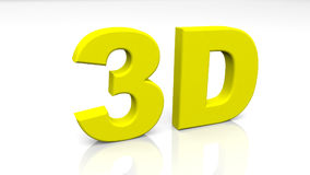 3D che rendono 3D giallo esprimono isolato su fondo bianco Fotografia Stock