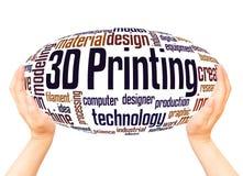3D che stampa concetto della sfera della mano della nuvola di parola illustrazione vettoriale