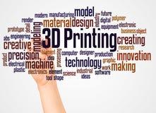3D che stampa la nuvola e la mano di parola con il concetto dell'indicatore illustrazione vettoriale