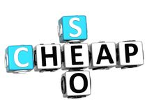 3D Cheap Seo Crossword on white backgrond Royalty Free Stock Image