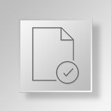 3D check mark document icon Business Concept Stock Image