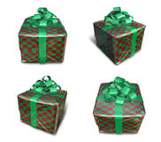 3D check pattern wrapped gift box set. 3D Icon Design Series. Royalty Free Stock Images