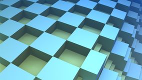 3D checkered background. 3D Abstract blue geometric block, 3D checkered background Stock Images