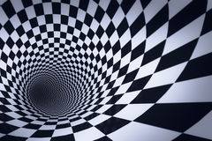3d checkered tunnel.  Royalty Free Stock Photo