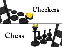 3d Checkers against chess. On a white background Stock Photos