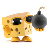 3d Cheese bomb. 3d render of a cheese character holding a bomb with a fuse Stock Image