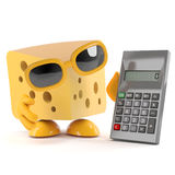 3d Cheese calculator. 3d render of a cheese character using a calculator Royalty Free Stock Image
