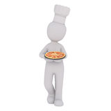3d chef carrying an Italian pizza Royalty Free Stock Photography