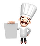 3D Chef character is holding paper documents Stock Photography