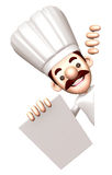 3D Chef character is holding paper documents Royalty Free Stock Photos