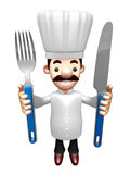 3D Chef Grasp a Knife and fork in both hands Stock Photo