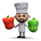 3d Chef has some peppers Royalty Free Stock Photography