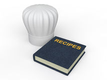 3d chef hat and recipes book. 3d render of chef hat and recipes book Royalty Free Stock Image