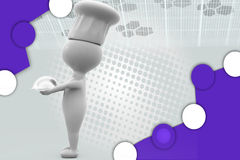 3d chef  holding plate illustration Royalty Free Stock Images