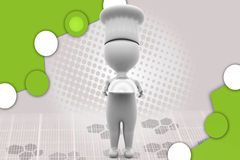 3d chef  holding plate illustration Royalty Free Stock Photo