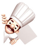 3D Chef holding a signpost. Work and Job Character Design Series Royalty Free Stock Image