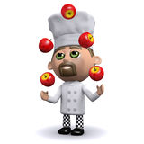 3d Chef juggles red apples. 3d render of a chef juggling apples Royalty Free Stock Photography