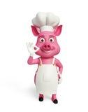 3d chef-kok Pig met beste teken stelt royalty-vrije illustratie