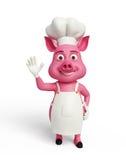3d chef-kok Pig met hallo stelt stock illustratie
