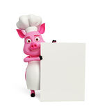 3d chef-kok Pig met witte raad Stock Foto