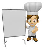 3D Chef Man Mascot is concise explanation of a whiteboard. Work Royalty Free Stock Images