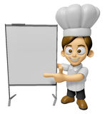 3D Chef Man Mascot is concise explanation of a whiteboard. Work Stock Photography